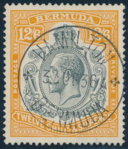 Lot 385, Bermuda 1932 12sh6d King George V, XF with Hamilton c.d.s.