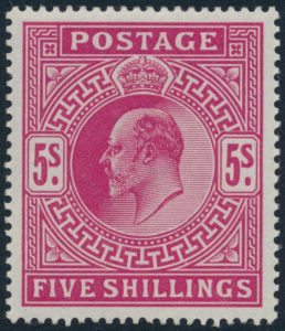 Lot 428, Great Britain 1902-11 five shilling carmine rose King Edward VII mint and fresh