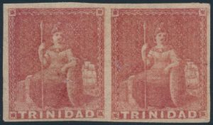 Lot 452, Trinidad 1857 one pence brown red Britannia pair on white paper, VF mint