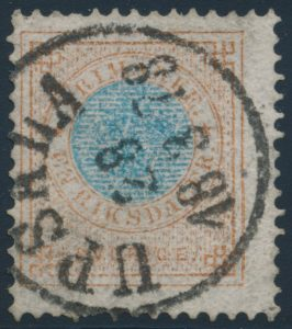 Lot 489, Sweden 1877-79 1rd bister and blue Coat of Arms, used with c.d.s.