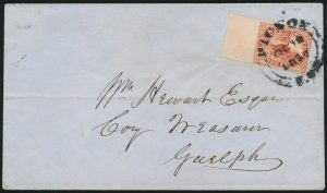 Lot 511, Canada three penny red Beaver on cover Kingston to Guelph, via Toronto and Belleville