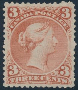Lot 89, Canada 1868 three cent red Large Queen, XF lightly hinged with very light gum bend