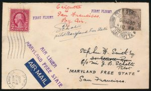 Lot 978, 1930 Maryland Free State first flight, Calcutta to Alameda California