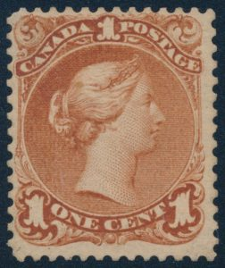 Lot 102, Canada one cent brown red Large Queen on laid paper, Fine unused, sold for C$12,285
