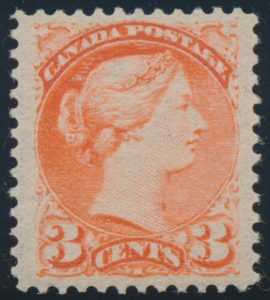 Lot 120, Canada 1890s three cent bright vermilion Small Queen, VF NH, sold for C$321