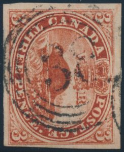 Lot 16, Canada 1852 three penny red Beaver, VF with 4-ring #38 cancel, sold for C$380