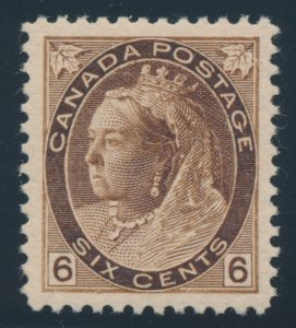 Lot 161, Canada 1896 six cent brown Numeral, XF NH, sold for C$819