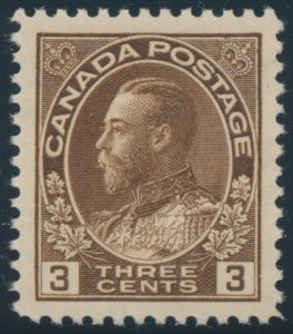 Lot 199, Canada 1923 three cent brown Admiral, XF NH, sold for C$152