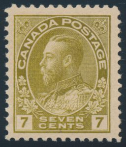 Lot 205, Canada seven cent sage green Admiral, XF NH, sold for C$2,106