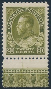 Lot 213, Canada 1912 twenty cent dark olive green Admiral, XF NH, sold for C$789
