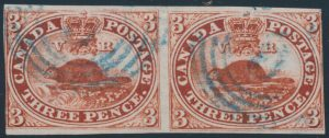Lot 22, Canada 1852 three pence deep red Beaver, Fine horizontal pair with Brantford 4-ring cancels, sold for C$555