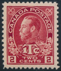 Lot 222, Canada 1916 2c + 1c carmine Admiral War Tax, Die I, XF NH, sold for C$321