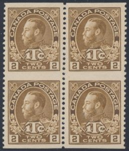 Lot 226, Canada 1916 2c + 1c brown Admiral War Tax VF ng block of four, sold for C$1,638