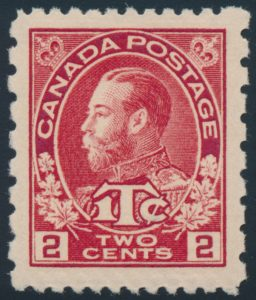 Lot 227, Canada 1916 2c + 1c carmine Admiral War Tax, XF NH, sold for C$263
