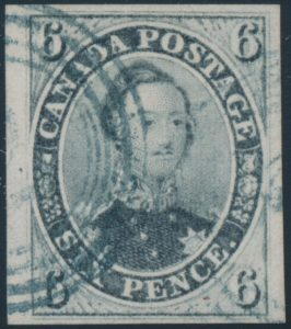 Lot 26, Canada 1855 six pence slate grey Consort, XF with 4-ring cancel