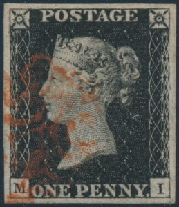 Lot 398, Great Britain 1840 Penny Black with red Maltese Cross, sold for C$263