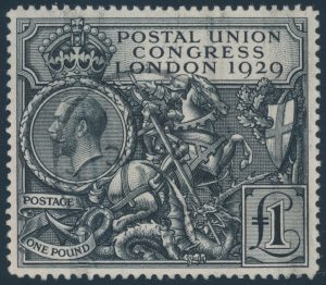 Lot 431, Great Britain 1929 one pound George Slaying The Dragon, XF with c.d.s., sold for C$526