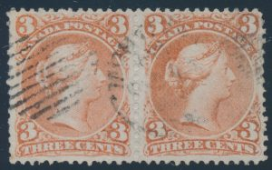 Lot 91, Canada 1868 three cent red Large Queen, used F-VF pair on Bothwell paper, sold for C$292
