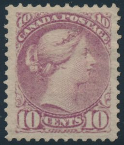 Lot 118, Canada 1880s ten cent dull magenta Small Queen, XF NH, sold for C$994