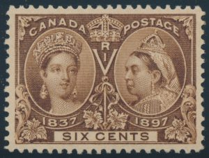 Lot 133, Canada 1897 six cent yellow brown Jubilee, XF NH, sold for C$497