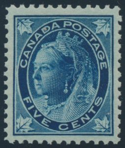 Lot 149, Canada 1897 five cent dull blue Queen Victoria Leaf, XF NH, sold for C$555