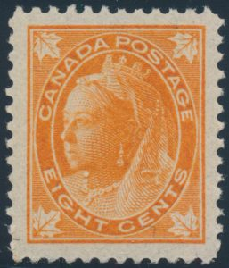 Lot 152, Canada eight cent orange Leaf, XF NH, sold for C$789