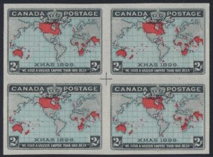 Lot 178, Canada 1898 two cent deep blue Map imperforate block with center cross, VF n.g., sold for C$2,223