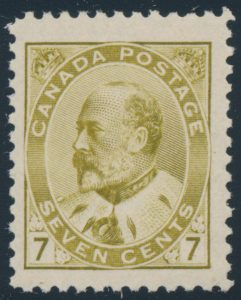 Lot 183, Canada 1903 seven cent olive bistre King Edward VII, XF NH, sold for C$994
