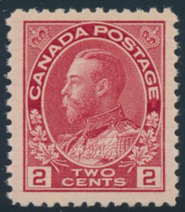 Lot 197, Canada 1912 two cent deep rose red Admiral, XF NH, sold for C$263