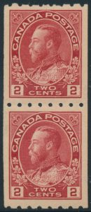 Lot 218, Canada 1913 two cent carmine Admiral coil, XF NH pair, sold for C$526