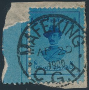 Lot 386, Cape of Good Hope 1900 three pence blue Baden-Powell tied on piece, sold for C$321