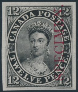 Lot 8, Canada twelve penny black plate proof, sold for C$1,462