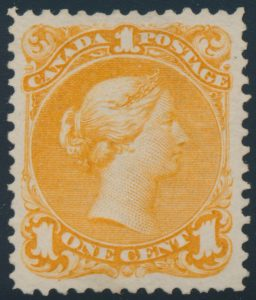 Lot 83, Canada 1868 one cent yellow orange Large Queen, XF ng, sold for C$1,287