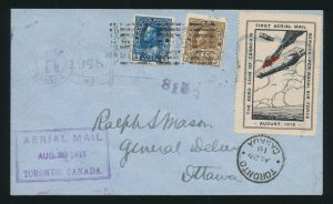 Lot 824, Canada 1918 Aero Club semi-official on registered cover, Ottawa to Toronto