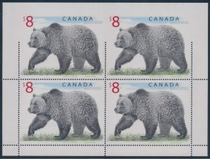 Lot 342, Canada 1997 $8 Grizzly Bear pane of four with major perforation error