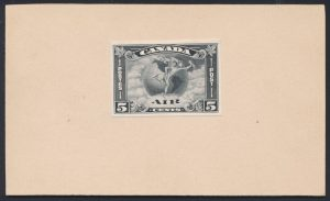 "Lot 352, Canada 1930 five cent Air Mail die essay in black with ""POST"" at right"