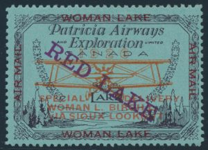 Lot 375 Canada #CL21bii 1926 (5c) Patricia Airways and Exploration Co. Ltd. with Descending Type D Overprint in Violet