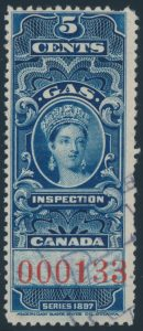 Lot 395, Canada 1897 five cent Victoria Gas Inspection stamp with red control number, used