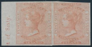 Lot 421, British Columbia & Vancouver Island 1860 2½d dull rose Queen Victoria imperf VF mint pair