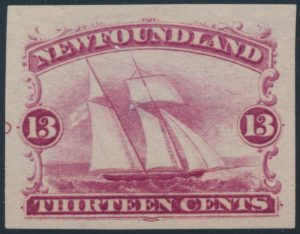 Lot 509, Newfoundland thirteen cent Ship, group of four different trade sample proofs