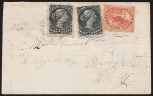 Lot 657, Canada 1868 cross-border Lady's Cover with mixed franking, Peterboro to Oswego New York