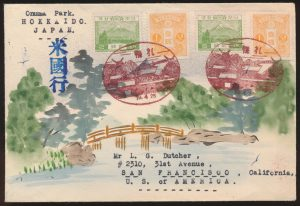 Lot 1326, Karl Lewis Illustrated cover, 1937 Japanese Empire Onuma Park cover, Hokkaido to California