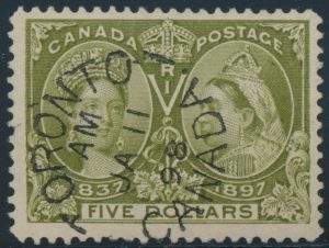 Lot 166, Canada 1897 five dollar olive green Jubilee, used with Toronto datestamp, F-VF