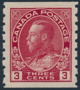 Lot 287, Canada 1912-24 three cent Admiral coil perf 8 vertically, XF NH, from set of six