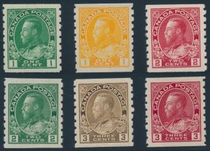 Lot 287, Canada 1912-24 Admiral coils perf 8 vertically, all XF NH
