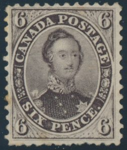 Lot 45,Canada 1859 six pence brown violet Consort, VF mint o.g.