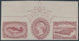 Lot 487, Newfoundland 1c, 5c and 12c values ca. 1868 se-tenant strip of three
