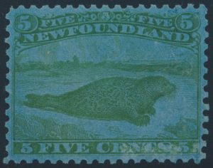 Lot 494, Newfoundland five cent Harp Seal perforated trade sample proof