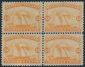 Lot 506, Newfoundland 1865 thirteen cent orange Ship, VF mint block of four