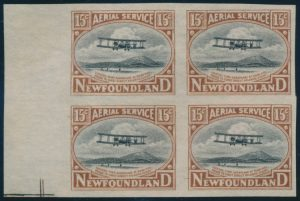 Lot 559, Newfoundland 1922 15c Vickers-Vimy essays in blocks of four
